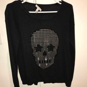 Autumn Cashmere Black Skull Sweater